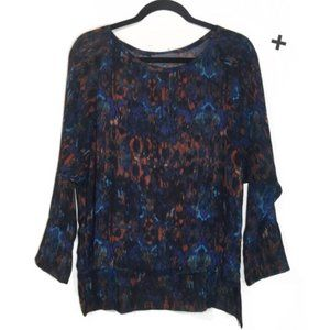 ANTHRO Sundays in Brooklyn Sheer Abstract Top S